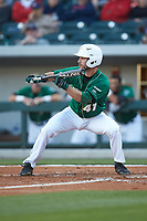 Derek Gallello (41) of the Charlotte 49ers squares to bunt against the North Carolina State Wolfpack at BB&T Ballpark on March 29, 2016 in Charlotte, North Carolina. The Wolfpack defeated the 49ers 7-1.  (Brian Westerholt/Four Seam Images)