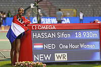 5th September 2020, Brussels, Netherlands;  The Netherlandss Sifan Hassan celebrates after the One Hour Women at the Diamond League Memorial Van Damme athletics event at the King Baudouin stadium in Brussels, Belgium