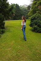 Woman standing in open field