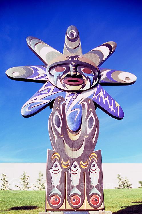 "Coast Salish Aboriginal Art, University of British Columbia (UBC), Vancouver, BC, British Columbia, Canada - Contemporary Sculpture entitled ""Thunder - Welcome Work"" (Musqueam artist - Thomas Cannell)"