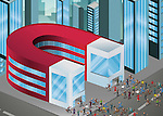 Illustration of people running towards magnet shaped building