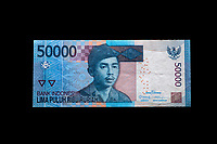 Yogyakarta, Java, Indonesia.  50,000 Rupiah Banknote, front, showing Lt. Col. I Gusti Ngurah Rai, a national hero.