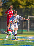 29 September 2013: University of Vermont Catamount Midfielder/Defender Paige Phillips, a Freshman from Media, PA, in action against the Stony Brook University Seawolves at Virtue Field in Burlington, Vermont. The Lady Cats fell to the visiting Seawolves 2-1 in America East play. Mandatory Credit: Ed Wolfstein Photo *** RAW (NEF) Image File Available ***