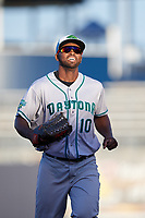 Daytona Tortugas right fielder Daniel Sweet (10) jogs off the field during a game against the Tampa Tarpons on April 18, 2018 at George M. Steinbrenner Field in Tampa, Florida.  Tampa defeated Daytona 12-0.  (Mike Janes/Four Seam Images)