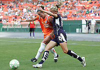Kristin DeDycker #15 of Washington Freedom battles with Meghan Schnur #12 of Sky Blue FC during a WPS match at RFK Stadium on May 23, 2009 in Washington D.C. Freedom won the match 2-1