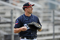 Catcher Trey Keegan (23) of the Danville Braves warms up before in a game against the Johnson City Cardinals on Friday, July 1, 2016, at Legion Field at Dan Daniel Memorial Park in Danville, Virginia. Johnson City won, 1-0. (Tom Priddy/Four Seam Images)