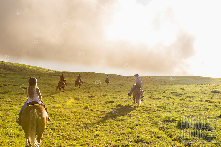 Along with a guide from Paniolo Adventures, visitors enjoy horseback riding over the mystical hills of Kohala, Hawai'i Island. This part of Kohala is in Waimea, near sunset.