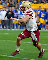 Boston College quarterback Dennis Grossel. The Boston College Eagles defeated the Pitt Panthers 26-19 in the football game played at Heinz Field, Pittsburgh Pennsylvania on November 30, 2019.