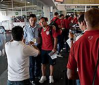 Landon Donovan  poses for photos with Mexican fan, U.S. Men's National Team vs. Mexico - August 11, 2009 at Estadio Azteca; Mexico City, Mexico.   .