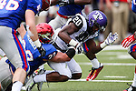 TCU Horned Frogs wide receiver Deante' Gray (20) and Southern Methodist Mustangs defensive back Hayden Greenbauer (22) in action during the game between the TCU Horned Frogs and the SMU Mustangs at the Gerald J. Ford Stadium in Fort Worth, Texas.  TCU leads SMU 28 to 0 at half.