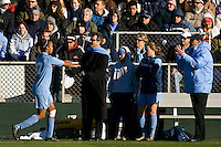 North Carolina Tar Heels forward Jessica McDonald (47) leaves the field after being substituted. The North Carolina Tar Heels defeated the Notre Dame Fighting Irish 2-1 during the finals of the NCAA Women's College Cup at Wakemed Soccer Park in Cary, NC, on December 7, 2008. Photo by Howard C. Smith/isiphotos.com