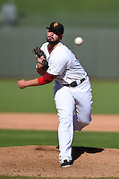 Surprise Saguaros pitcher Robby Scott (32) during an Arizona Fall League game against the Scottsdale Scorpions on October 11, 2014 at Surprise Stadium in Surprise, Arizona.  Scottsdale defeated Surprise 7-6.  (Mike Janes/Four Seam Images)