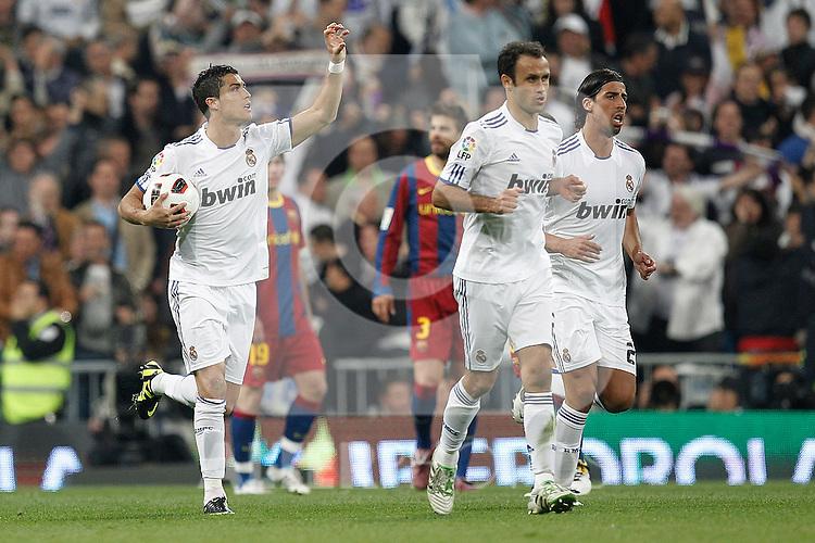 Real Madrid's Cristiano Ronaldo goal during la Liga match on April 16th 2011...Photo: Cesar Cebolla / ALFAQUI