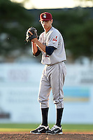 Mahoning Valley Scrappers pitcher Dominic DeMasi (25) gets ready to deliver a pitch during a game against the Batavia Muckdogs on June 21, 2014 at Dwyer Stadium in Batavia, New York.  Batavia defeated Mahoning Valley 10-6.  (Mike Janes/Four Seam Images)