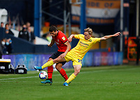 3rd October 2020; Kenilworth Road, Luton, Bedfordshire, England; English Football League Championship Football, Luton Town versus Wycombe Wanderers; Alex Samuel of Wycombe Wanderers challenges Matty Pearson of Luton Town