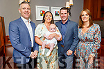 The christening party of baby John Peter O'Regan from Ballymac in the Ballygarry House Hotel on Saturday. L to r: Alan Keeley (GF), mom Tara, baby John and dad John Paul O'Gran and Mags Quillinan (GM).