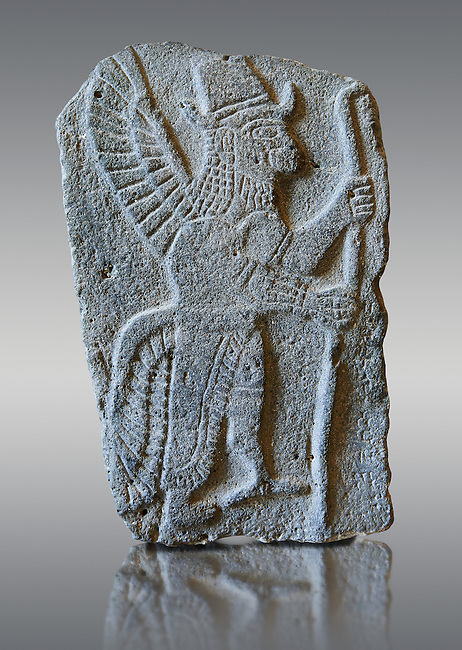 9th century BC stone Neo-Hittite/ Aramaean Orthostats from Palace Temple of the Aramaean city of Tell Halaf in northeastern Syria close to the Turkish border. The Orthostats are in a Neo Hittite style and depict mythical animals and figures that have magical properties. Pergamon Museum, Berlin . Museum Inv No: VA 8850