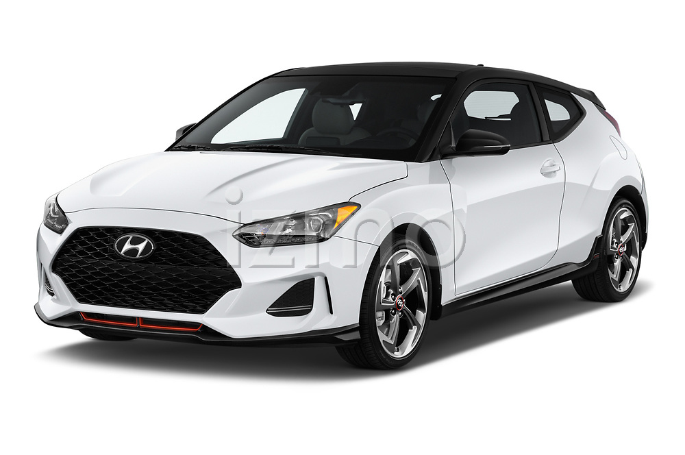 2020 Hyundai Veloster Turbo Ultimate 5 Door Hatchback angular front stock photos of front three quarter view