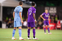 LAKE BUENA VISTA, FL - JULY 14: James Sands #16 of NYCFC and Nani #17 of Orlando City SC wait for the free kick during a game between Orlando City SC and New York City FC at Wide World of Sports on July 14, 2020 in Lake Buena Vista, Florida.