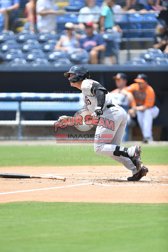 Hickory Crawdads Justin Foscue (20) runs to first base during a game against the Asheville Tourists on July 26, 2021 at McCormick Field in Asheville, NC. (Tony Farlow/Four Seam Images)