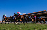 July 10, 2020: Horses race over the Jimmy Durante Turf Cours at Del Mar Race Track in Del Mar, California on July 10, 2020. The legendary racetrack dubbed Where The Surf Meets The Turf is facing a temporary suspension of racing after 15 jockeys tested positive for coronavirus this week. Alex Evers/Eclipse Sportswire/CSM