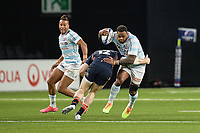 4th April 2021; Paris La Défense Arena, Nanterre, Paris, France; European Champions Cup Rugby, Racing 92 versus Edinburgh;  G Taylor ( 12 - Edinburgh ) tackles Virimi Vakatawa ( 13 - Racing )as TEDDY THOMAS ( 14 - Racing ) supports