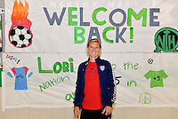 St Louis, Missouri -May 19, 2015:  #SheBelieves, Lori Chalupny host soccer camp with the Holy Redeemer 4th and 5th grade students and Nerinx Hall freshman and JV soccer teams. There was a pep rally held at her former school Nerinx Hall where she was master of ceremonies and discussed her experiences with soccer and the upcoming 2015 FIFA Women's World Cup.