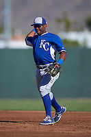 Kansas City Royals Jonathan McCray (12) during an instructional league game against the San Francisco Giants on October 23, 2015 at the Papago Baseball Facility in Phoenix, Arizona.  (Mike Janes/Four Seam Images)