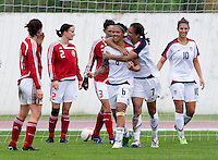 Shannon Boxx, Natasha Kai. The USWNT defeated Denmark, 2-0, in Lagos, Portugal during the Algarve Cup.