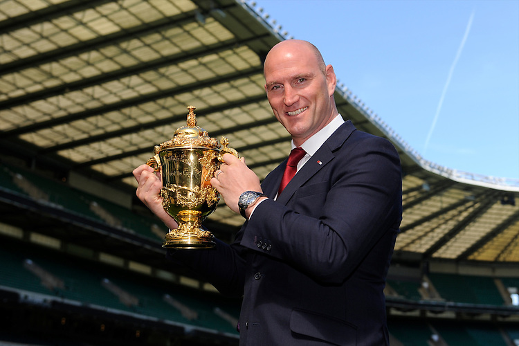 Lawrence Dallaglio with the Webb Ellis Trophy during the Rugby World Cup 2015 Venues and Match Schedule Launch at Twickenham Stadium on Thursday 2nd May 2013 (Photo by Rob Munro)