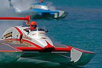 "David Williams, U-1 ""Miss Budweiser"" (1980 Rolls-Royce Griffon powered Ron Joes hull) and Chip Hanauer, U-00 ""Atlas Van Lines"" (1982 Rolls-Royce powered Lucero hull)."