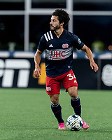 FOXBOROUGH, MA - JULY 23: Ryan Spaulding #34 of New England Revolution II looks to pass during a game between Toronto FC II and New England Revolution II at Gillette Stadium on July 23, 2021 in Foxborough, Massachusetts.