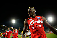 3rd October 2021; Franchi Stadium, Florence, Italy; Serie A football, Fiorentina versus Napoli : Victor Osimhen and team mates of Napoli celebrate their 1-2 win at the end of the game