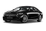 Stock pictures of low aggressive front three quarter view of 2022 Mercedes Benz CLS-Coupe AMG-Line 4 Door Sedan Low Aggressive