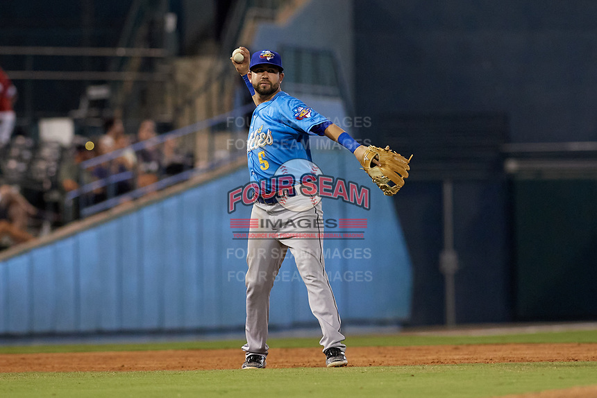 Amarillo Sod Poodles Peter Van Gansen (5) throws to first base during a Texas League game against the Frisco RoughRiders on July 13, 2019 at Dr Pepper Ballpark in Frisco, Texas.  (Mike Augustin/Four Seam Images)
