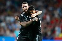 Argentina's Nicolas Otamendi (l) and Maximiliano Meza celebrate goal during international friendly match. March 27,2018.(ALTERPHOTOS/Acero) /NortePhoto.com NORTEPHOTOMEXICO