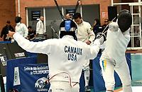 BOGOTA – COLOMBIA – 26 – 05 – 2017: Gabriel Canaux (Izq.) de Estados, combate con Maksym Khvorost (Der.) de Ucrania, durante Varones Mayores Epee del Gran Prix de Espada Bogota 2017, que se realiza en el Centro de Alto Rendimiento en Altura, del 26 al 28 de mayo del presente año en la ciudad de Bogota.  / Gabriel Canaux (L) from United States, fights with Maksym Khvorost (R) from Ukraine, during Senior Men´s Epee of the Grand Prix of Espada Bogota 2017, that takes place in the Center of High Performance in Height, from the 26 to the 28 of May of the present year in The city of Bogota.  / Photo: VizzorImage / Luis Ramirez / Staff.