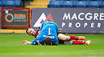 Ross County v St Johnstone...10.08.14  SPFL<br /> Steven MacLean colides with Antonio Reguero<br /> Picture by Graeme Hart.<br /> Copyright Perthshire Picture Agency<br /> Tel: 01738 623350  Mobile: 07990 594431