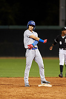 AZL Dodgers Lasorda Jaime Perez (14) celebrates after hitting a double during an Arizona League game against the AZL White Sox at Camelback Ranch on June 18, 2019 in Glendale, Arizona. AZL Dodgers Lasorda defeated AZL White Sox 7-3. (Zachary Lucy/Four Seam Images)
