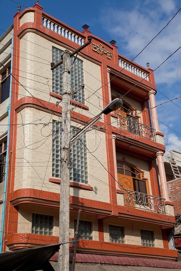 Myanmar, Burma.  Mandalay.  Haphazard Electric Wiring, Modern Office Building.