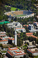 aerial photograph of the University of California, Berkeley, with Sather Tower in the foreground and the California Memorial Stadium in the background, Berkeley, California