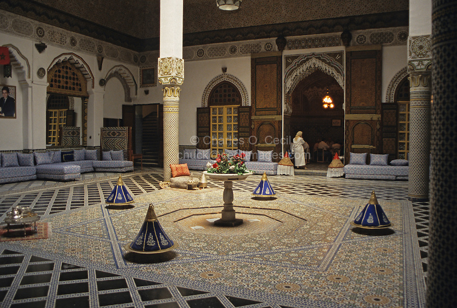 Fez, Morocco - Palais M'Nebhi.  The agreement making Morocco a Protectorate under the French was signed in this house in 1912.  It is now a restaurant.