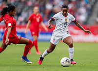 CARSON, CA - FEBRUARY 9: Jayde Riviere #8 of Canda defends Crystal Dunn #19 of the United States during a game between Canada and USWNT at Dignity Health Sports Park on February 9, 2020 in Carson, California.