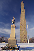 AJ4635, Vermont, Bennington Battle Monument, the tallest structure in Vermont, in Old Bennington in the winter in Bennington County in the state of Vermont.