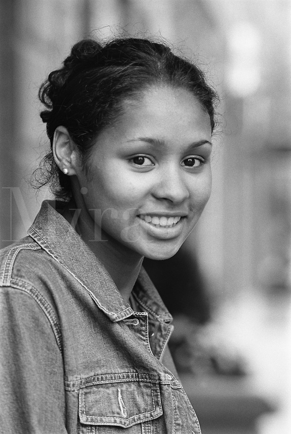 Afro-american girl, denim jacket, Boston, MA