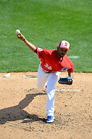 Buffalo Bisons pitcher Ramon Ortiz #36 during the second game of a doubleheader against the Pawtucket Red Sox on April 25, 2013 at Coca-Cola Field in Buffalo, New York.  Buffalo defeated Pawtucket 4-0.  (Mike Janes/Four Seam Images)