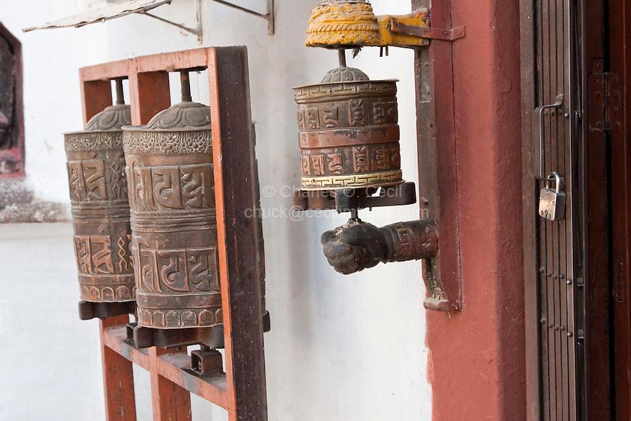 Bodhnath, Nepal.  Buddhist Prayer Wheels.