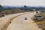 M40 motorway under construction 1980s Banbury Oxfordshire UK. Sunday morning locals inspecting new motorway.