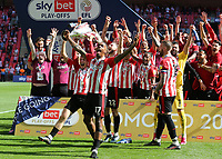 Ivan Toney leads the celebrations as Brentford win promotion to the Premier League during Brentford vs Swansea City, Sky Bet EFL Championship Play-Off Final Football at Wembley Stadium on 29th May 2021