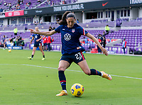 ORLANDO, FL - FEBRUARY 21: Christen Press #23 of the USWNT warms up before a game between Brazil and USWNT at Exploria Stadium on February 21, 2021 in Orlando, Florida.